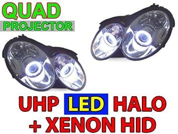 03-09 MERCEDES W209 CLK QUAD UHP LED ANGEL HALO XENON HID