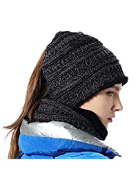bb520f99a09 Girls Hat Scarf Set Knit High Ponytail Beanie Warm Liner Winter Skull Cap