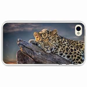 iPhone 4 4S Black Hardshell Case leopard lies snag Transparent Desin Images Protector Back Cover