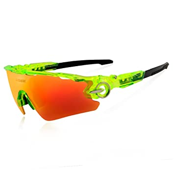 a2a4b508ccc Queshark Sports Polarized Cycling Sunglasses Bike Bicycle Glasses Goggle  For Men Women 3 Lens (Clear