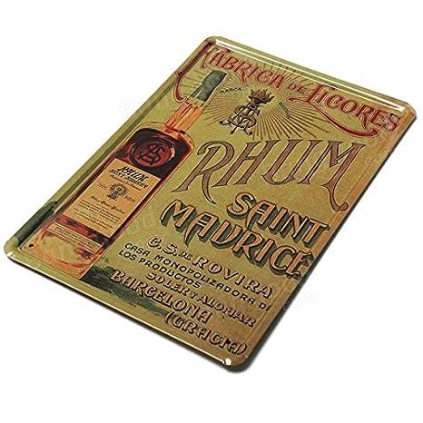 Placa metálica vintage de Bazaar Rhum para decoración de pared ...