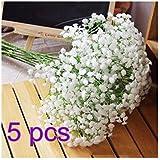 Cinziia Lot de 5 fleurs artificielles Gypsophile Blanc