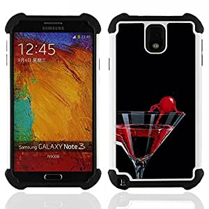 - Cocktail Martini Cherry/ H??brido 3in1 Deluxe Impreso duro Soft Alto Impacto caja de la armadura Defender - SHIMIN CAO - For Samsung Galaxy Note3 N9000 N9008V N9009