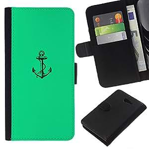 KLONGSHOP // Tirón de la caja Cartera de cuero con ranuras para tarjetas - Mar verde vibrante Marinero Barco - Sony Xperia M2 //