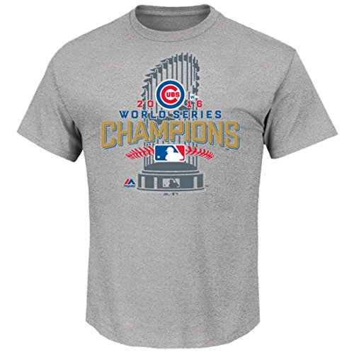 Chicago Cubs Majestic 2016 World Series Champions Locker Room T-Shirt - Gray XL World Series Champions