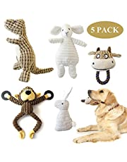 KONKY Squeaky Dog Toys 5 Pack Toys Set ,Durable Chew Toys ,Various Animals Shapes Dog Toy for Puppy Small Medium Large Dogs- Monkey, Dinosaur,Sheep,Rabbit and Bull