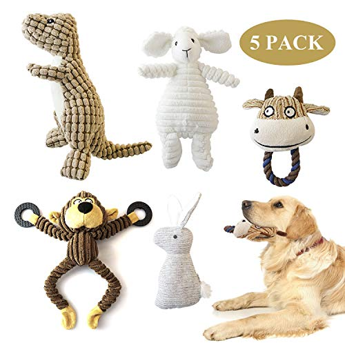 (SUNKY 5 Pack Dog Squeaky Toys Durable Squeak Plush Dog Toys Stuffed Plush Pet Toys for Small, Medium, Large Dogs )