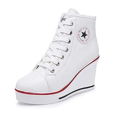 official photos 32bef e586a XPJY Baskets Mode Compensées Montante Sneakers Tennis Chaussures de Sport  Chaussures en Toile Femme (35