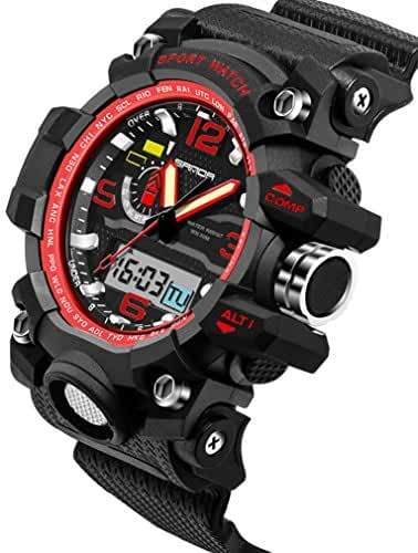 Multifunctional Outdoor Electronic Sport Watches Waterproof Swimming Watches For Boys and Girls Black+Red