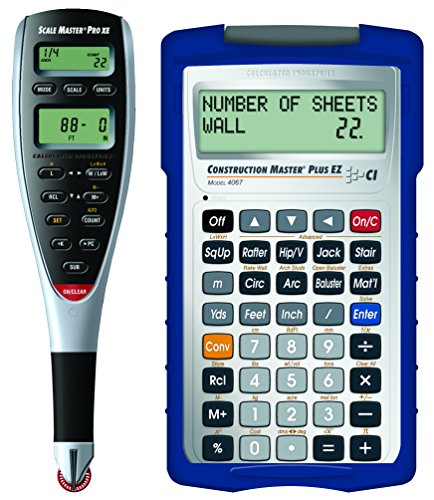 Pro Measure - Calculated Industries 6135 2 Piece Scale Master Pro XE Advanced Digital Plan Measure | Bundled with Free Construction Master Plus EZ Contractors Prompting Calculator