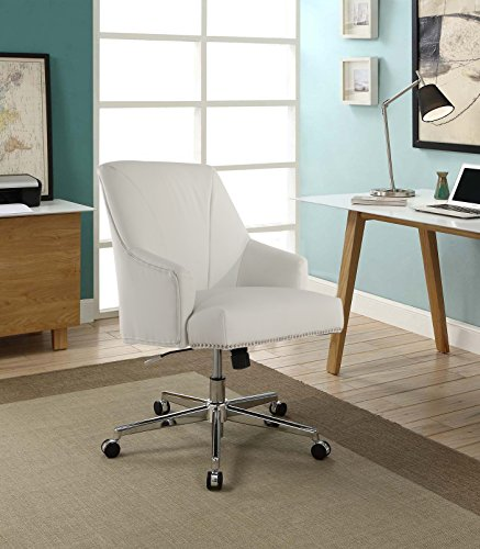 Serta Style Leighton Home Office Chair, Bonded Leather, White (Fabric Office Chair White)
