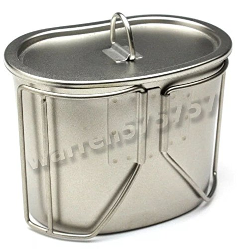 GI Style Stainless Steel Canteen Cup w// Lid Metal Military Camping Cooking Cup
