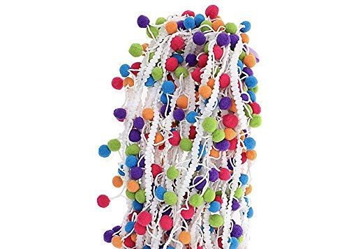(Marsha Q Multicolor Pom Pom Ball Fringe Trim Ribbon 5 Yard for Sewing Crafts Applique Designing Decorating Embroidery Clothing Accessories Quilting Bedding Curtain Paper Crafts Home Textile)