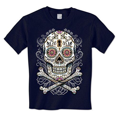 Sugar Skull And Crossbones - Flowers Keyhole Day Of The Dead Mens T-Shirt XL Navy