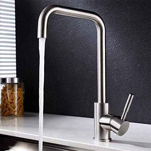 (Outer Welding) Seven-character Household Kitchen 304 Stainless Steel Brushed Faucet Hot and Cold Water Mixing Valve redating Sink Basin Faucet (Outer Welding) Seven Characters