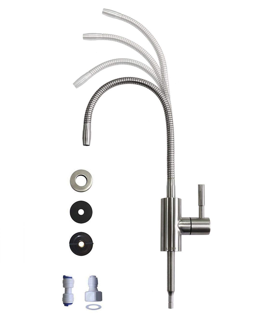 Drinking Water Faucet with Flexible Gooseneck - 360 Degree Rotatable Sink Faucet Drinking Water Purifier Faucet, Cold Water Faucet Single Handle - Brushed Stainless Steel