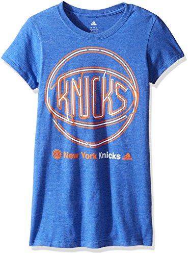 NBA New York Knicks Adult Women Last Stop Tee Cap sleeve Tee, Large, Blue Heathered
