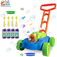 ToyVelt Bubble Lawn Mower for Kids - Automatic Bubble Machine with Music Sounds Best Toys for Toddlers Plus 4