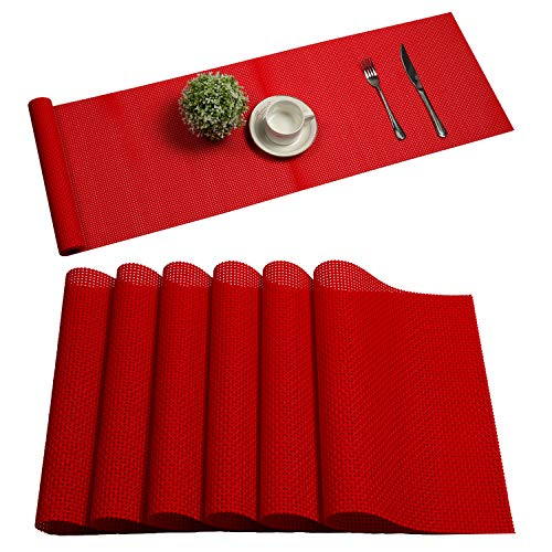 U'Artlines Set of 6 Placemats,Placemats for Dining Table,Heat-Resistant Placemats, Stain Resistant Washable PVC Table Mats,Kitchen Table mats (6pcs placemats+Table Runner, B red)