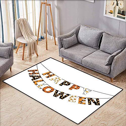 (Large Door mat,Halloween Happy Halloween Banner Greetings Pumpkins Skull Cross Bones Bats Pennant,Anti-Slip Doormat Footpad Machine Washable,5'6