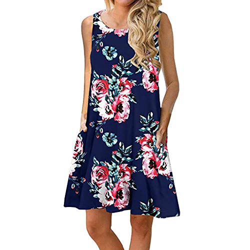 (DLDY Women's Summer Casual Floral Loose T-Shirt Dress Sleeveless Swing Dress with Pockets (Navy Blue, X-Large))