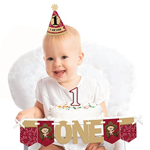 Big Dot of Happiness Little Cowboy 1st Birthday - First Birthday Boy Smash Cake Decorating Kit - High Chair Decorations
