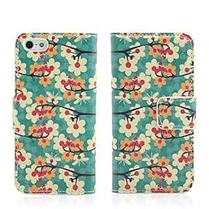 HC-Flor de ciruelo Imprimir Faux Funda de cuero Flip con ranuras para tarjetas y soporte para iPhone 5/5S