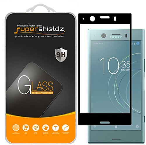 [2-Pack] Supershieldz for Sony (Xperia XZ1 Compact) Tempered Glass Screen Protector, [Full Screen Coverage] Anti-Scratch, Bubble Free, Lifetime Replacement (Black)