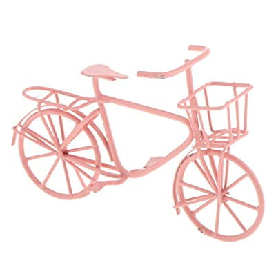 Taotenish 1:12 Scale Metal Handmade Bike Bicycle Dollhouse Dining Room Garden Accessories - Pink: Toys & Games