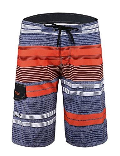 Stripe Beach Pants - NONWE Men's Tropical Stripe Beach Shorts Swim Trunks with Mesh Lining Orange 38