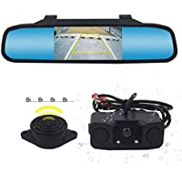 Backup Camera and Mirror Monitor Kit Waterproof Rear View Camera IR Night Vision Car Rearview Mirror With 170 Wide Angle Reverse/Rear View Cam tft-lcd K-box