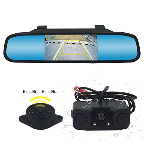 Reverse Camber (Backup Camera and Mirror Monitor Kit Waterproof Rear View Camera IR Night Vision Car Rearview Mirror With 170 Wide Angle Reverse/Rear View Cam tft-lcd K-box)