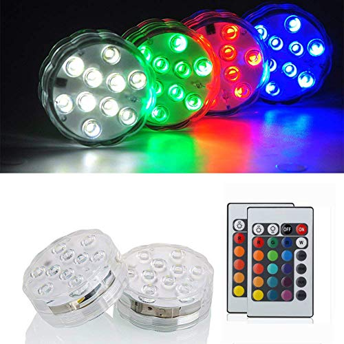 """KITOSUN Submersible LED Lights 2.8"""" 3aaa Battery RGB Multicolors Waterproof Light w/Remote for Wedding Baby Shower Centerpiece Aquarium Pond Pool Party Vase Kayak Halloween Hookah Floral Lighting"""