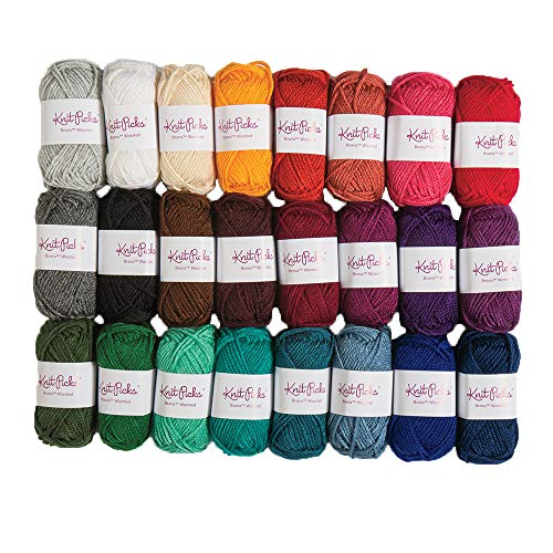 (Knit Picks Brava Mini Pack Worsted Premium Acrylic Yarn - 24 Pack (25g Minis, Jewel))