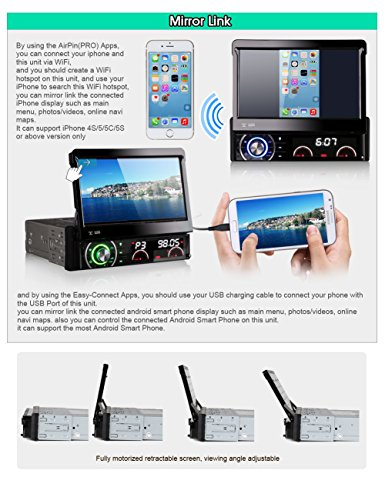 Erisin Quad Core Car Stereo Single Din Detachable Android 7
