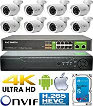 USG 3MP Ultra 4K H.265 8 Camera Security System PoE IP CCTV Kit: 8x 3MP IP PoE 5MP 3.6mm Wide Angle Lens Bullet Camera + 1x 3MP 8 Channel NVR + 1x 10 Port PoE Network Switch + 1x 4TB HD View On Phone
