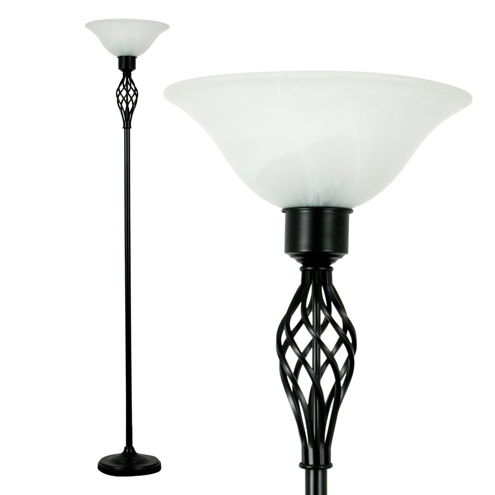 Traditional Style Satin Black Barley Twist Floor Lamp With A Frosted Brushed Chrome Light Pull Cord Switch Amazoncouk Lighting Alabaster Shade
