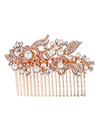 Ever Faith Austrian Crystal Bridal Hair Comb Flower Art Deco Cream Simulated Pearl Rose Gold-Tone Clear 20 Teeth N00414-4