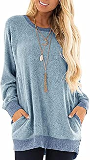 WELINCO Clearance Womens Crewneck Sweatshirts Color Block Long Sleeve Sweatershirts Pullovers Tunic Tops with