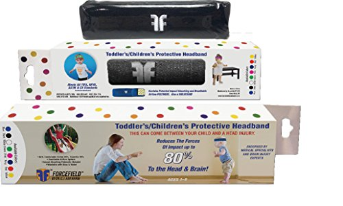 Toddler Injury Prevention Sweatband by Forcefield - First Soccer Safety Gear for Toddlers 3 to 5 Years - Impact Tested, Certified Strong Protective Fall Safety (Black) by Forcefield