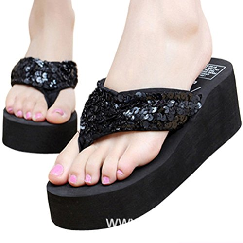 AMZMINE Womens Summer Flip Flops Flat Slippers Bohemia Beach Slippers Skidproof Slipsole High Heels Thongs Gold
