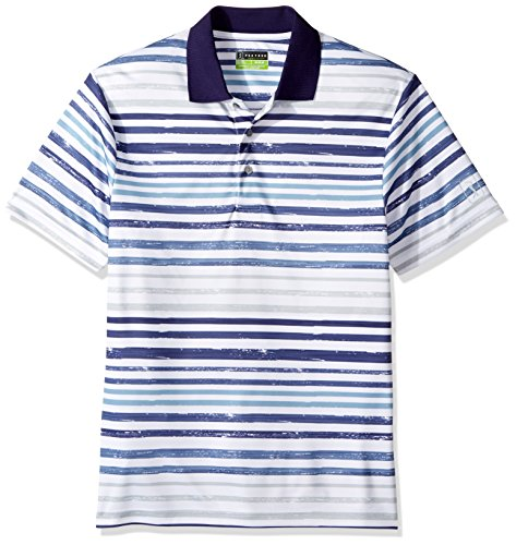 (PGA TOUR Men's Short Sleeve Striped Polo Shirt, Ombre True Navy, XL )