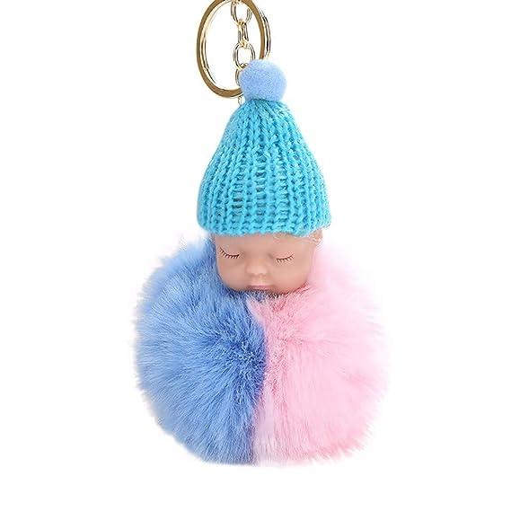 Aiserkly Women Fashion Small Rabbit Ball Fox Fluffy Keyring Soft Keychain Bag Plush Car Key Ring Charm Personalised Pendant