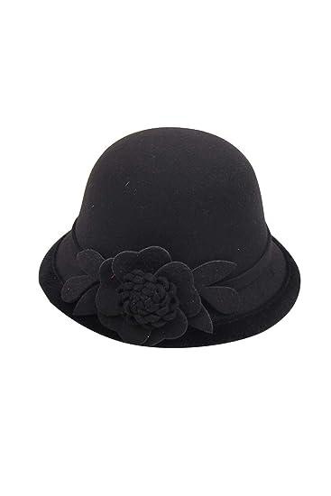 f5e22efd12f Zonsaoja Cloche Round Hat for Women Beanie Flower Dress Church Elegant  British Black F