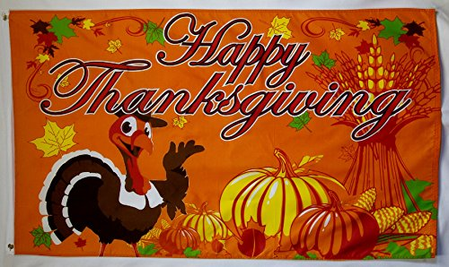 Happy Thanksgiving Fall Theme Flag 3' X 5' Pumpkin Patch Banner -