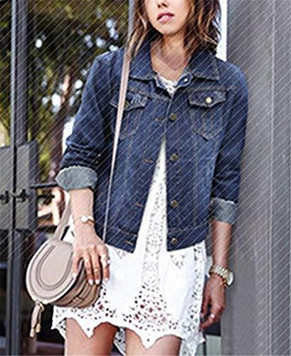 Maniche Cute Autunno Base Streetwear Libero Chic Cappotto Stile Moda Lunghe Primaverile Coat Giacca Jeans Blu Taglie Donna Relaxed Forti Tempo 4qOTW