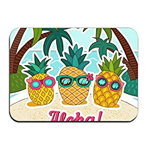 Yves Horace Pineapple Background With Hand Drawn Sunglasses Non-Slip Rubber Entrance Door Mat Doormats 23.6 x 15.7 Inch