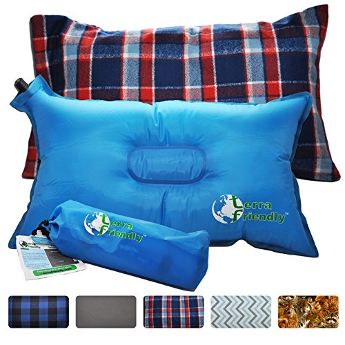 Self-Inflating-Travel-Pillow-with-Premium-Camping-Pillow-Case-Handcrafted-in-USA-Compressible-for-Backpacking-Boating-Festivals-Airplane-or-Auto-By-Terra-Friendly
