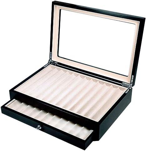 caja bolígrafos de madera con Vitrina caja Estuche para 23 bolígrafos lacado Color Negro: Amazon.es: Relojes