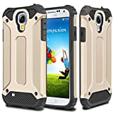 Galaxy S4 Case,Wollony Rugged Hybrid Dual Layer Hard Shell Armor Protective Back Case Shockproof Cover for Galaxy S4 Case - Slim Fit - Heavy Duty - Impact Resistant Bumper(Gold)